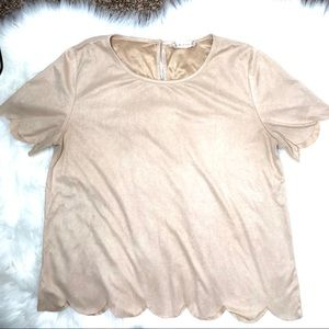 Altar'd State Beige Scalloped Tee| Tan Suede Shirt
